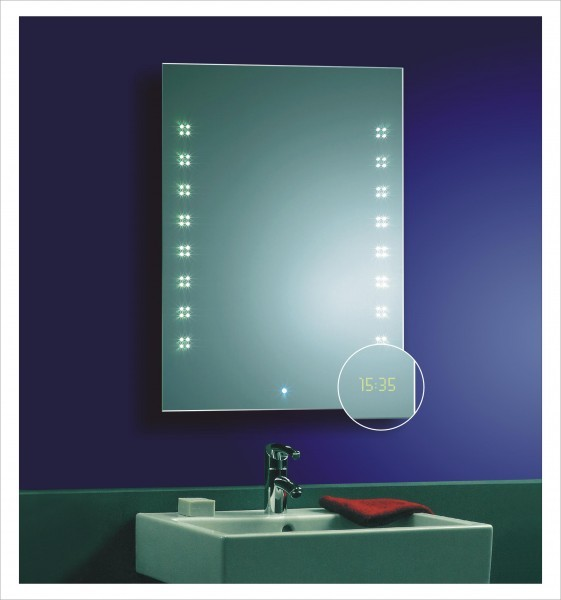 led badspiegel lichtspiegel 80x60 sensor uhrzeit ip44 c ebay. Black Bedroom Furniture Sets. Home Design Ideas