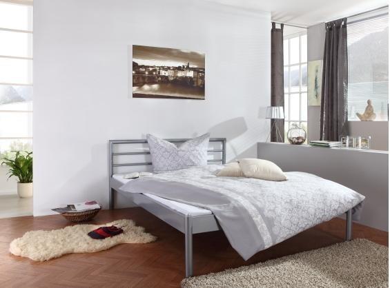 edles metallbett 140x200 doppelbett silber matratze ebay. Black Bedroom Furniture Sets. Home Design Ideas
