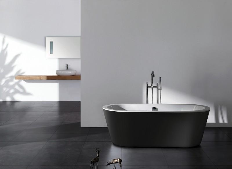 freistehende badewanne belaqua acryl schwarz 180x85 inkl. Black Bedroom Furniture Sets. Home Design Ideas