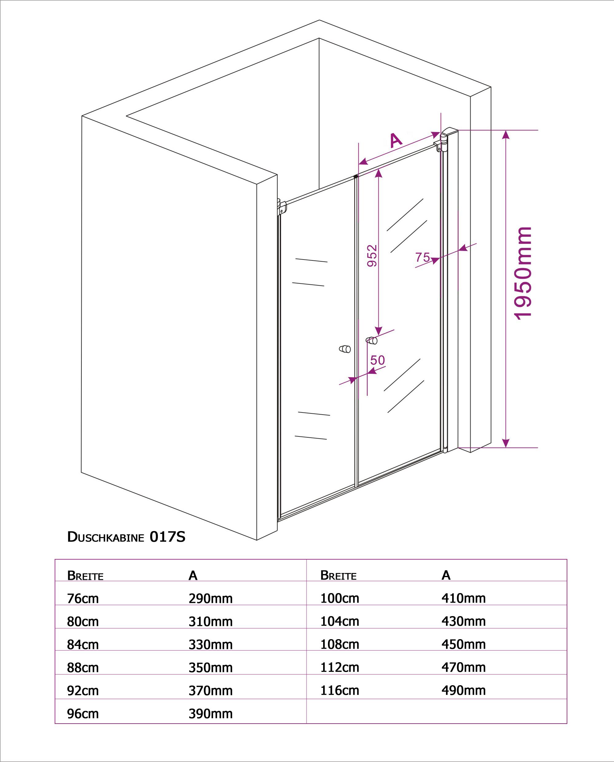 Duschkabine 017S/EX218 - Zeichnung