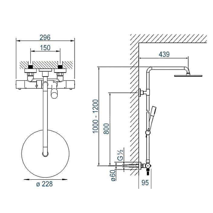 Duschsäule 4011 BASIC - Zeichnung