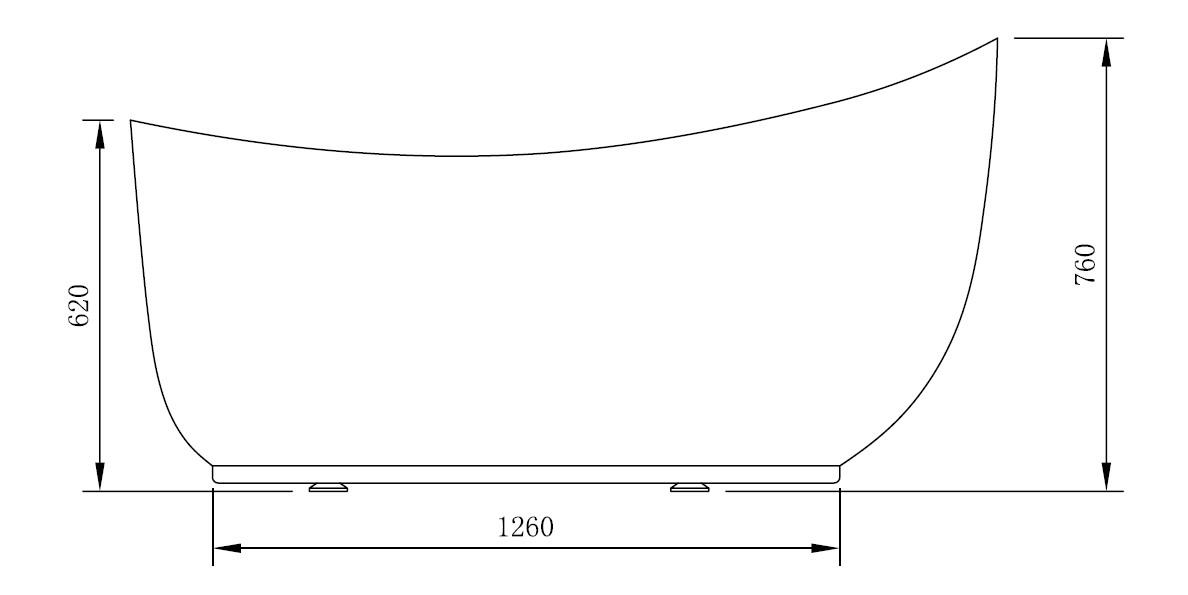 Freistehende Badewanne MAILAND - Zeichnung