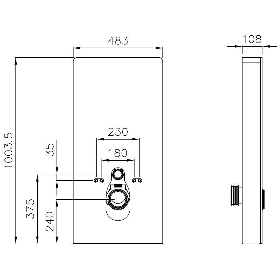 Sanitärmodul 805S für Wand-WC - Zeichnung 1