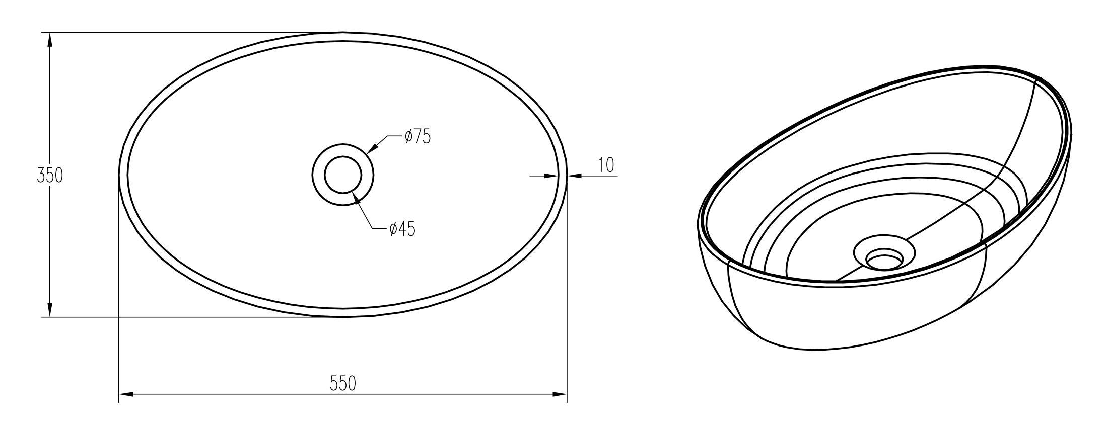 Aufsatzwaschbecken PB2004 - Zeichnung 1