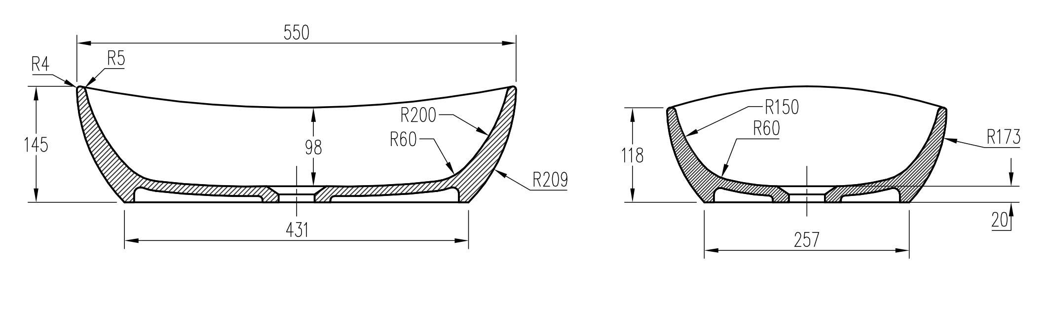 Aufsatzwaschbecken PB2004 - Zeichnung 2