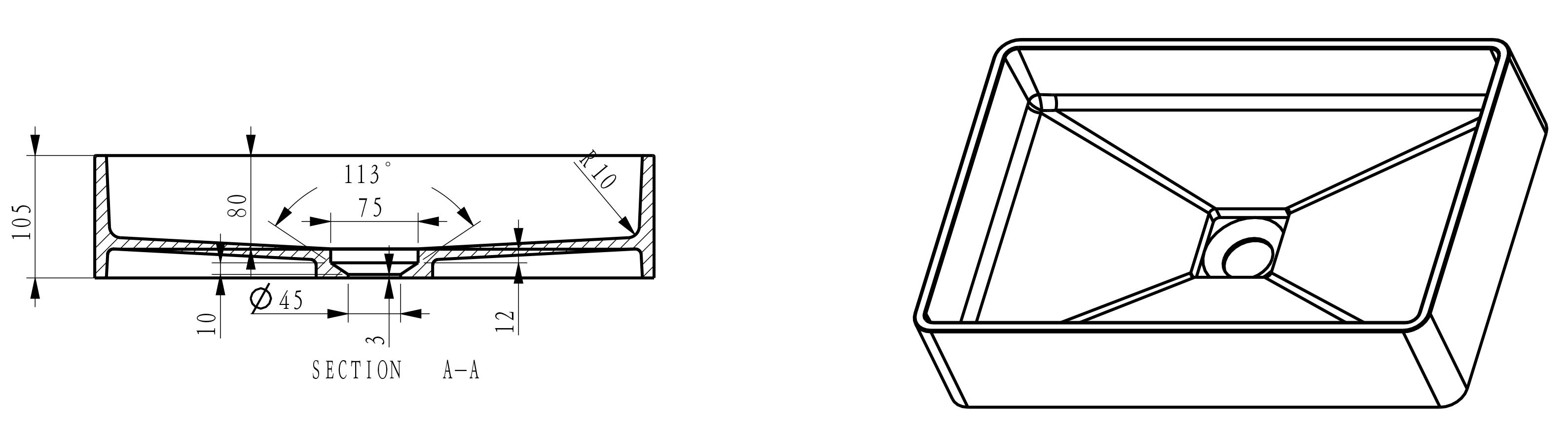 Countertop washbasin PB2011B - Drawing 2