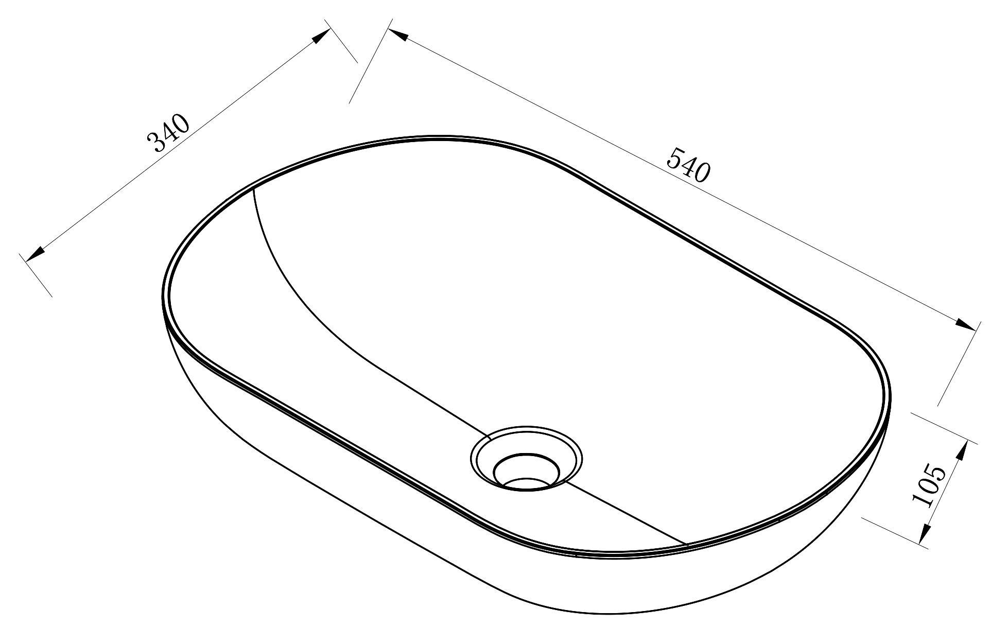 Aufsatzwaschbecken O-540 - Zeichnung