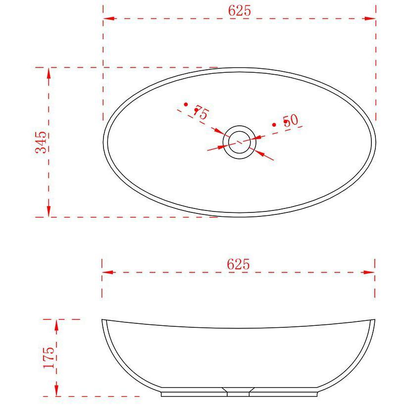 Aufsatzwaschbecken TWA63 - Zeichnung