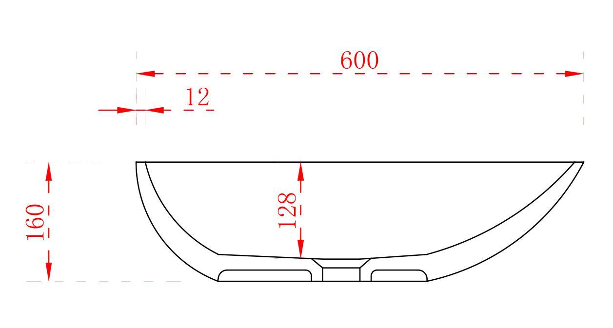 Aufsatzwaschbecken TWA65 - Zeichnung 2