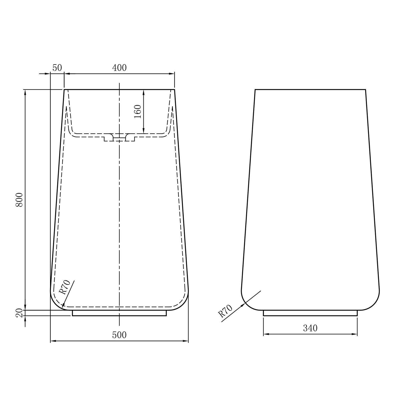 Freestanding washbasin BA31 - Drawing 1