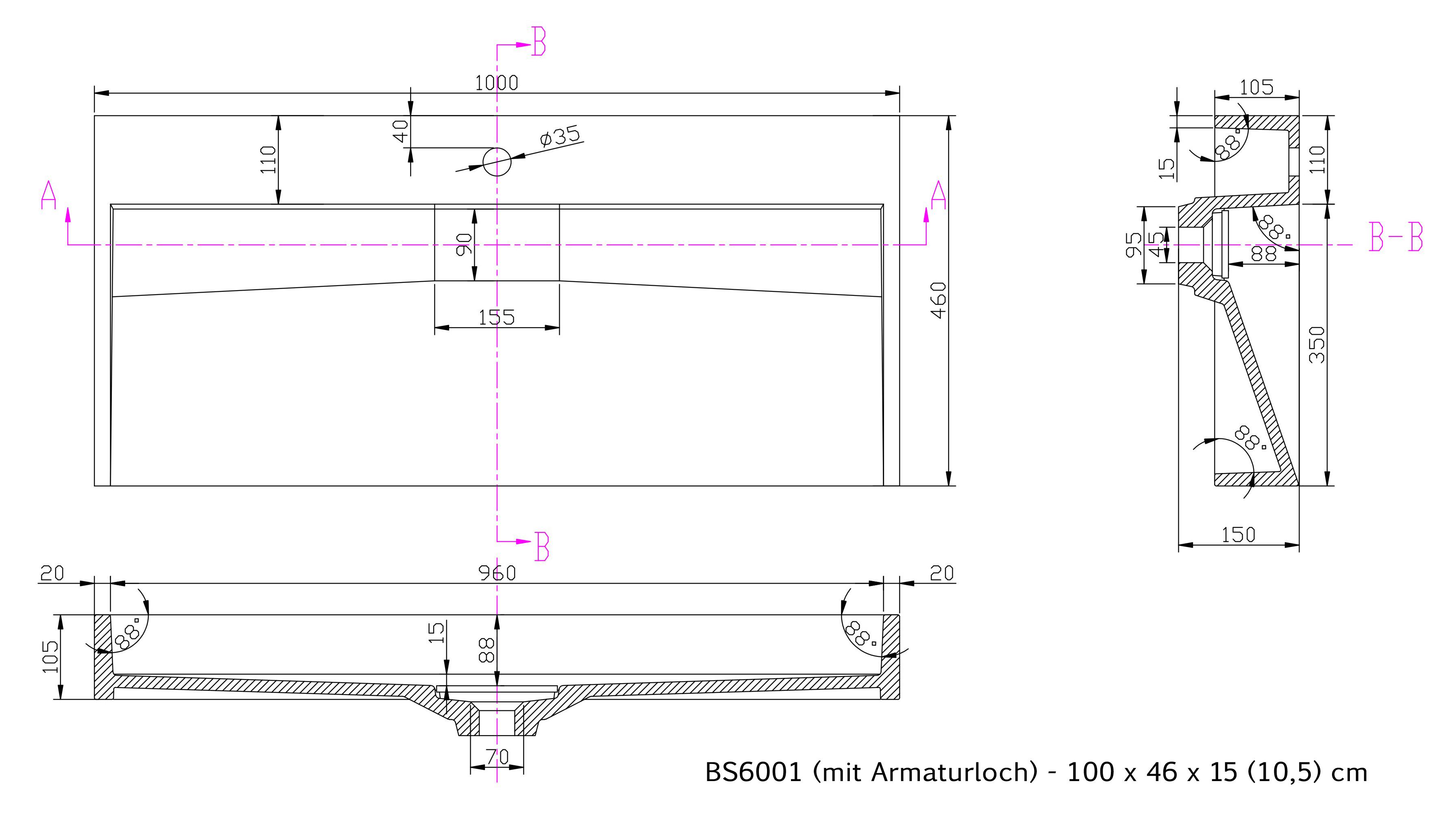 BS6001 - Breite 100cm - mit Armaturloch