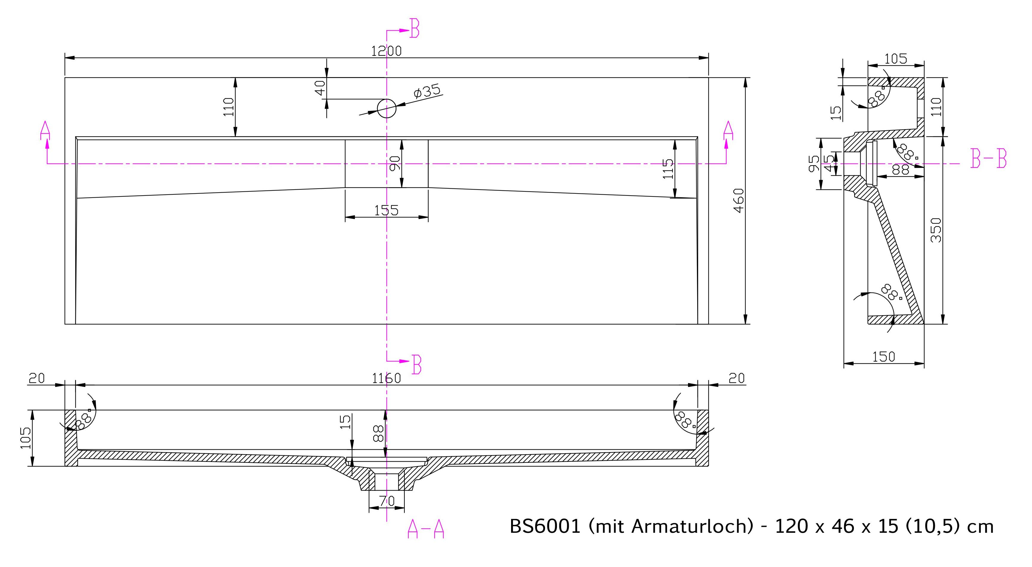 BS6001 - Breite 120cm - mit Armaturloch