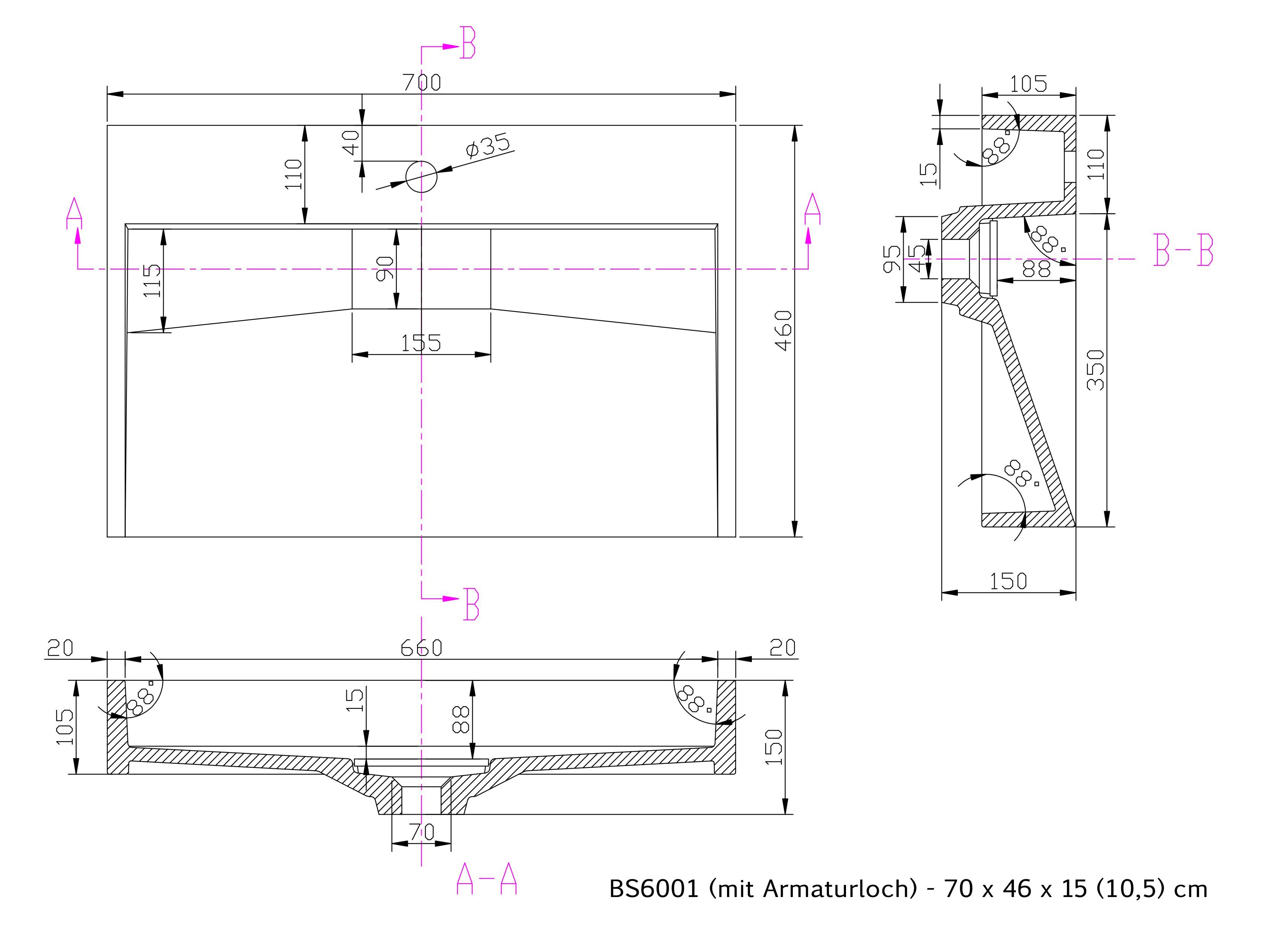 BS6001 - Breite 70cm - mit Armaturloch