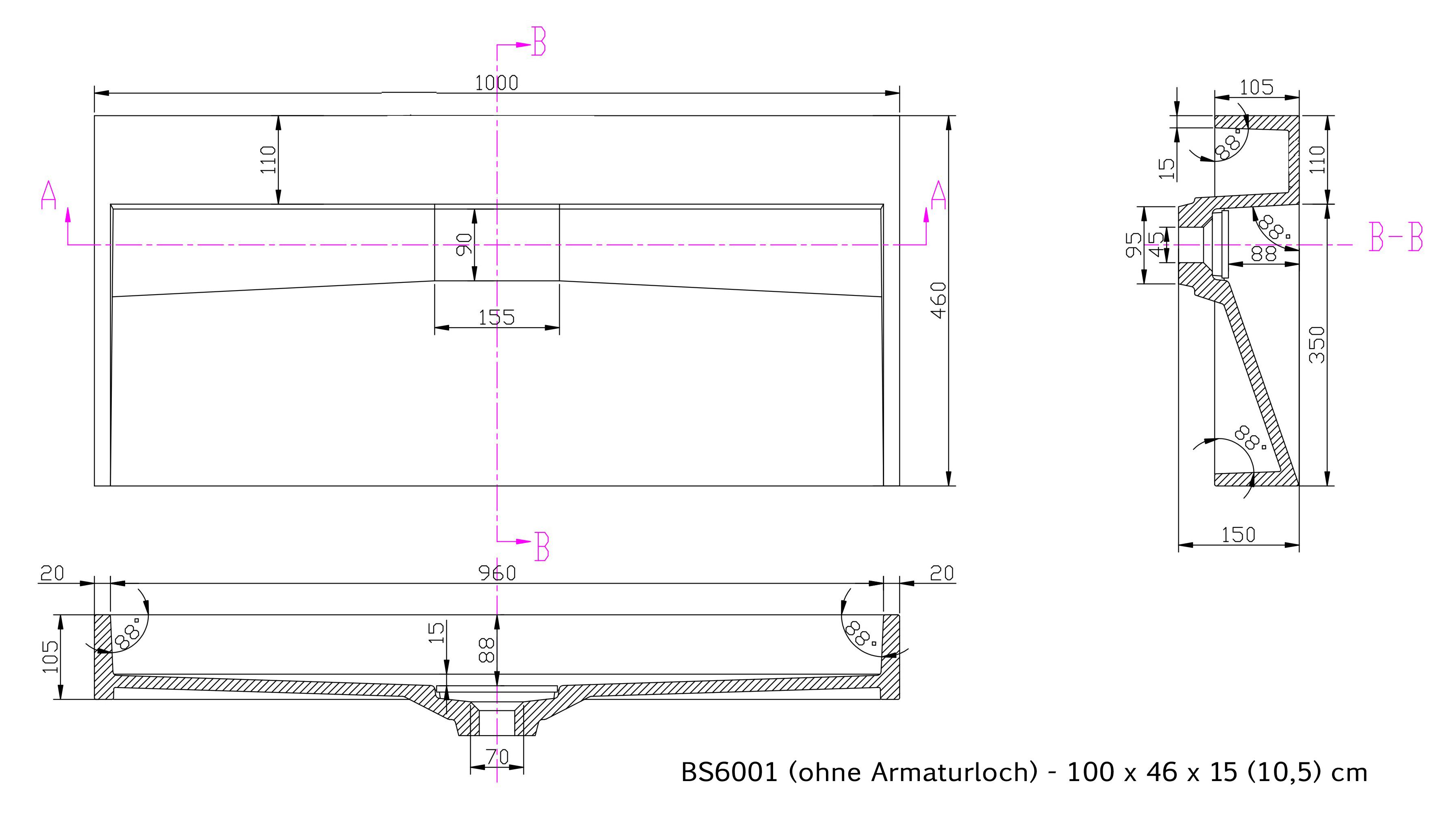 BS6001 - Breite 100cm - ohne Armaturloch