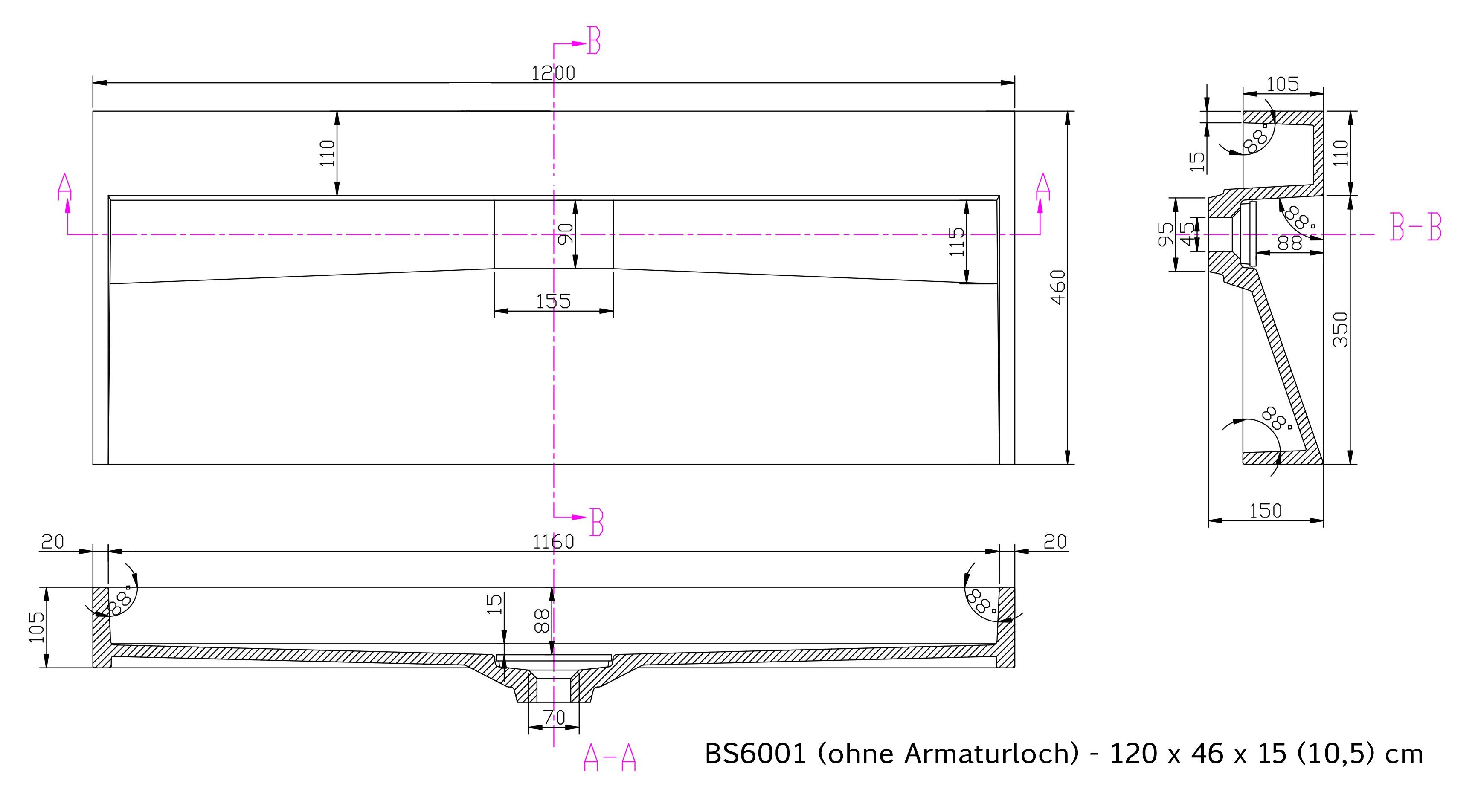 BS6001 - Breite 120cm - ohne Armaturloch