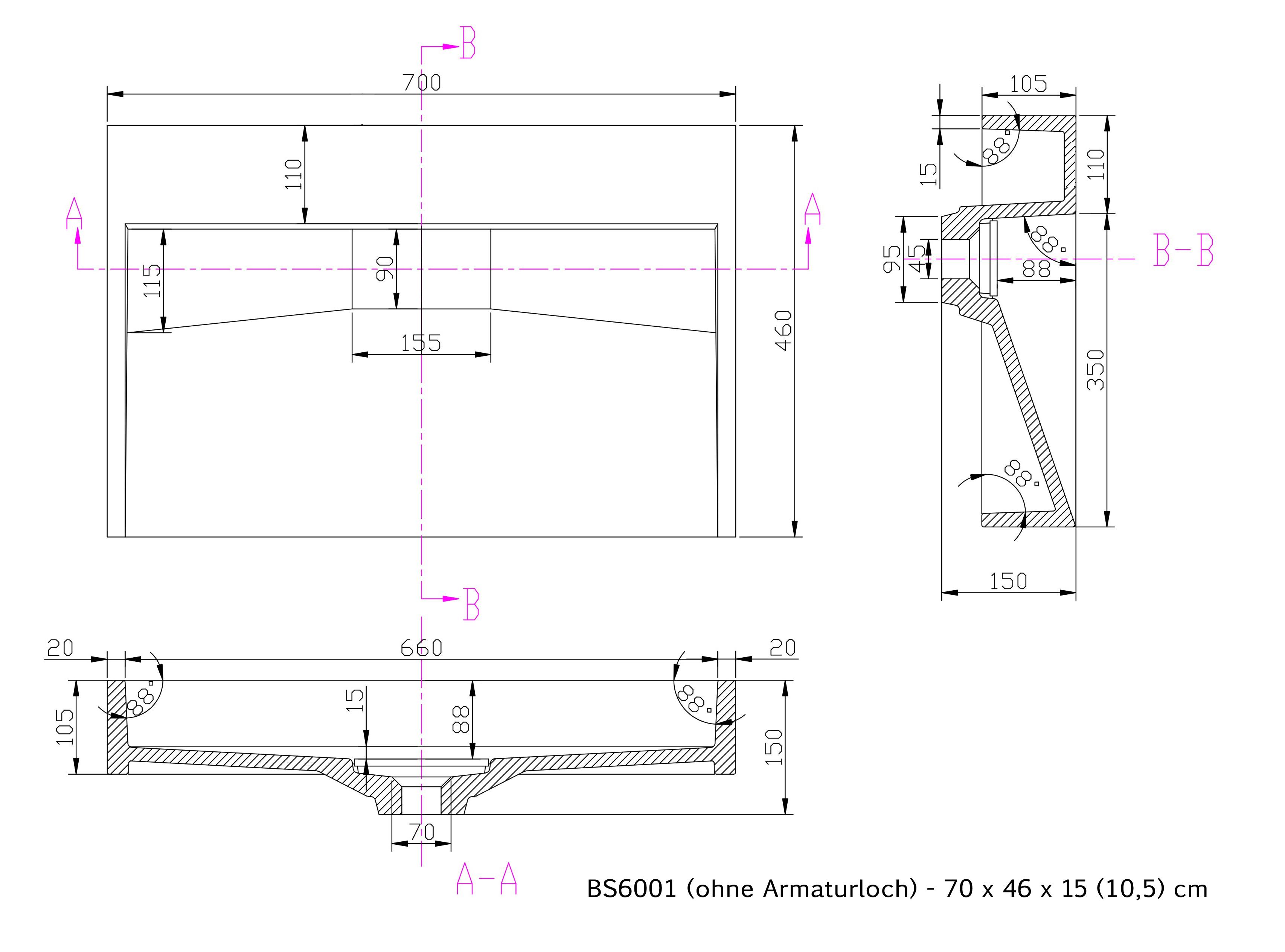 BS6001 - Breite 70cm - ohne Armaturloch