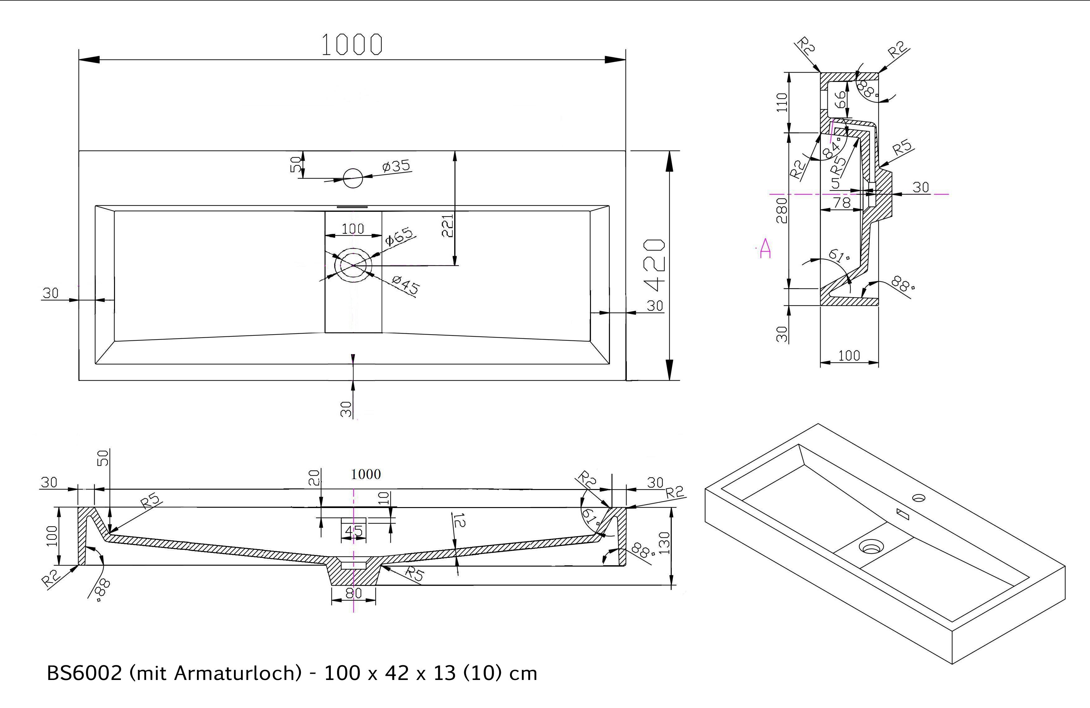 BS6002 - Breite 100cm - mit Armaturloch
