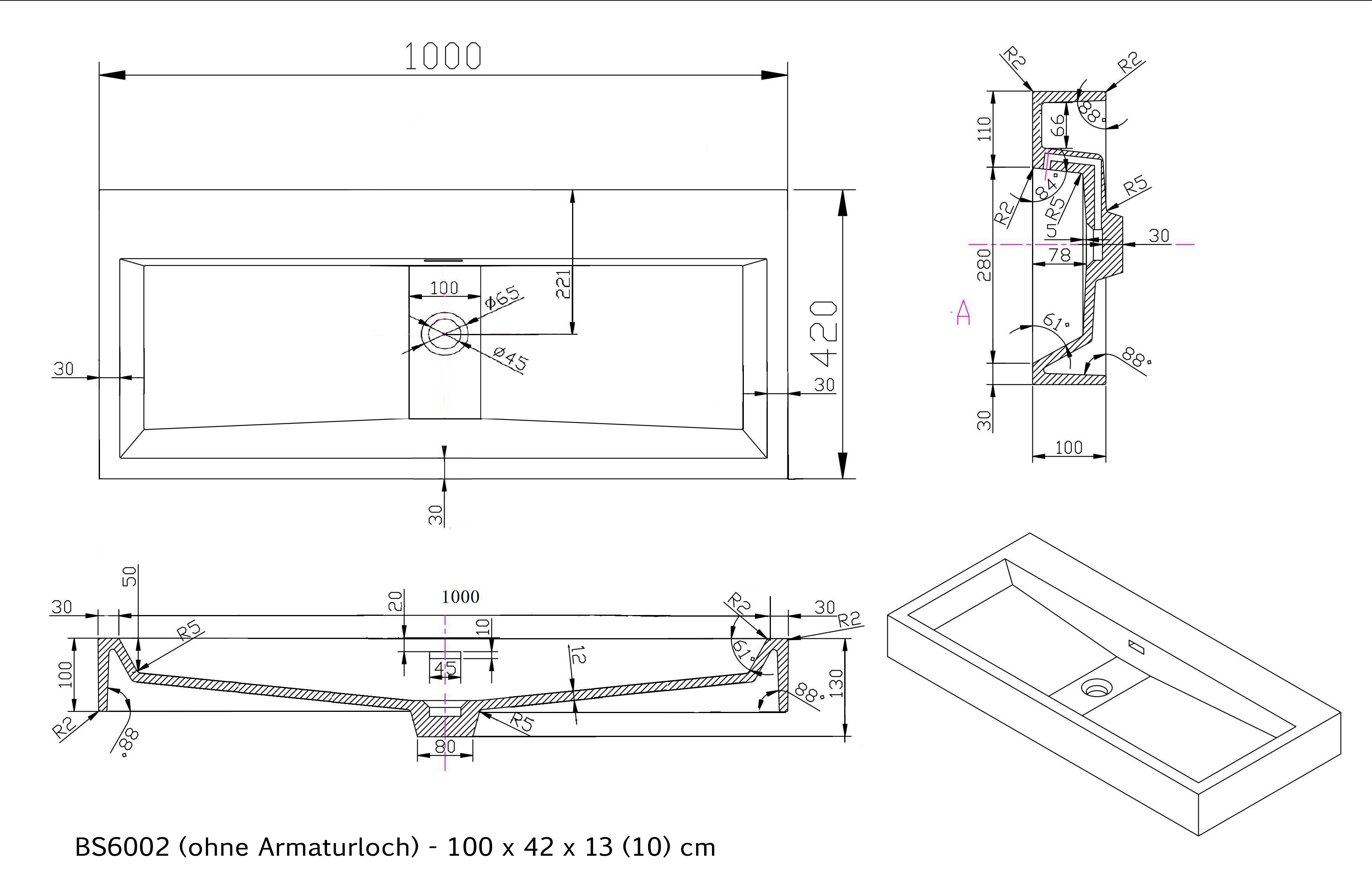 BS6002 - Breite 100cm - ohne Armaturloch