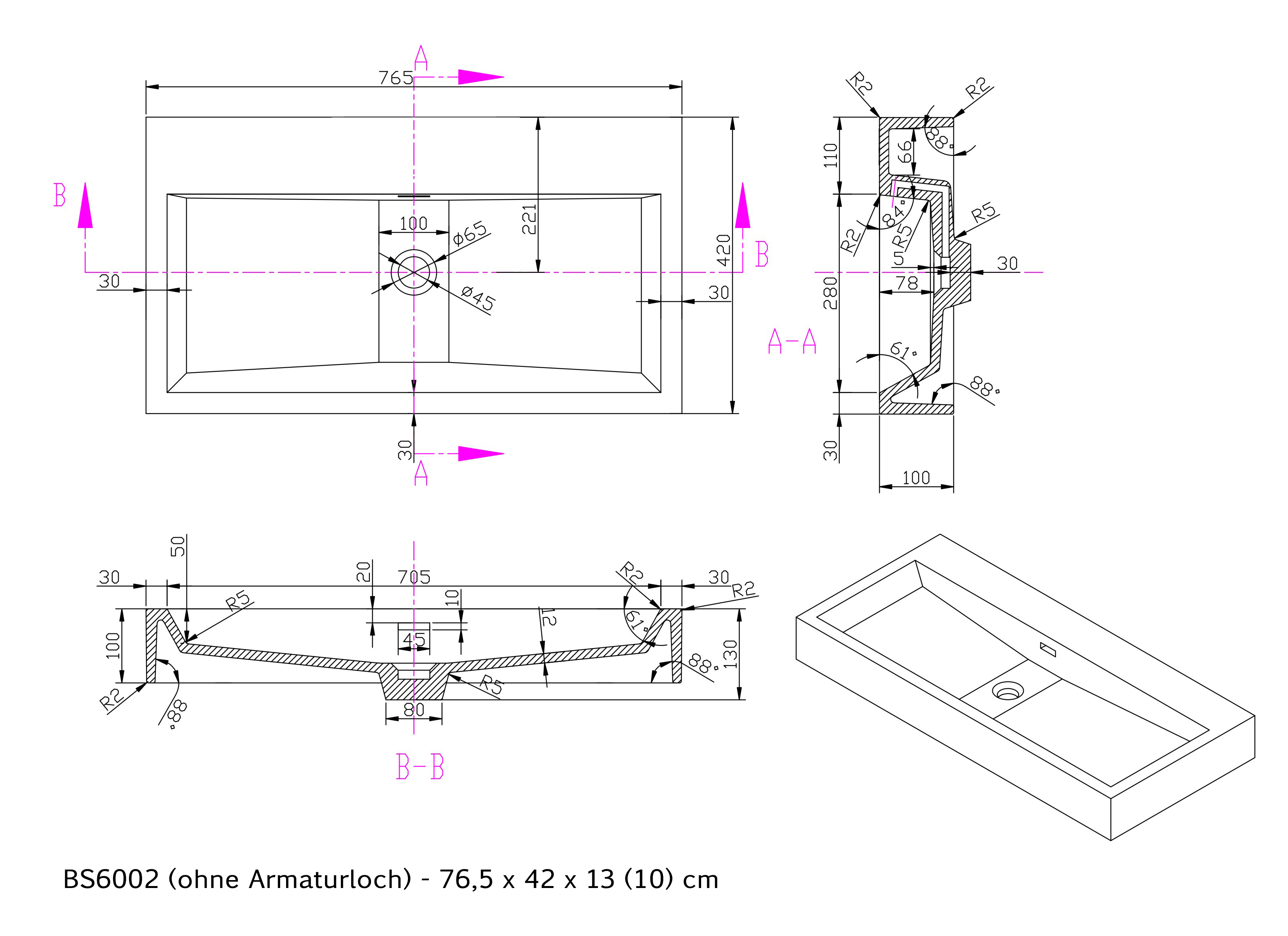 BS6002 - Breite 76,5cm - ohne Armaturloch