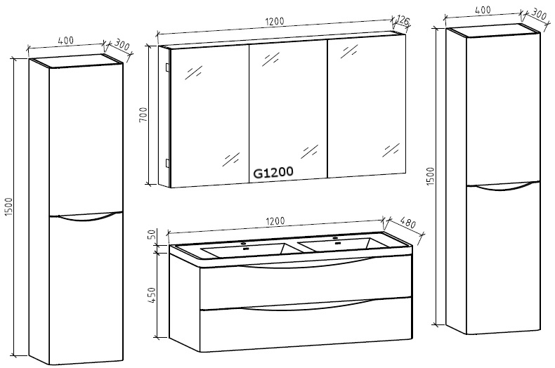 Bathroom furniture set Smile 1200 - Drawing