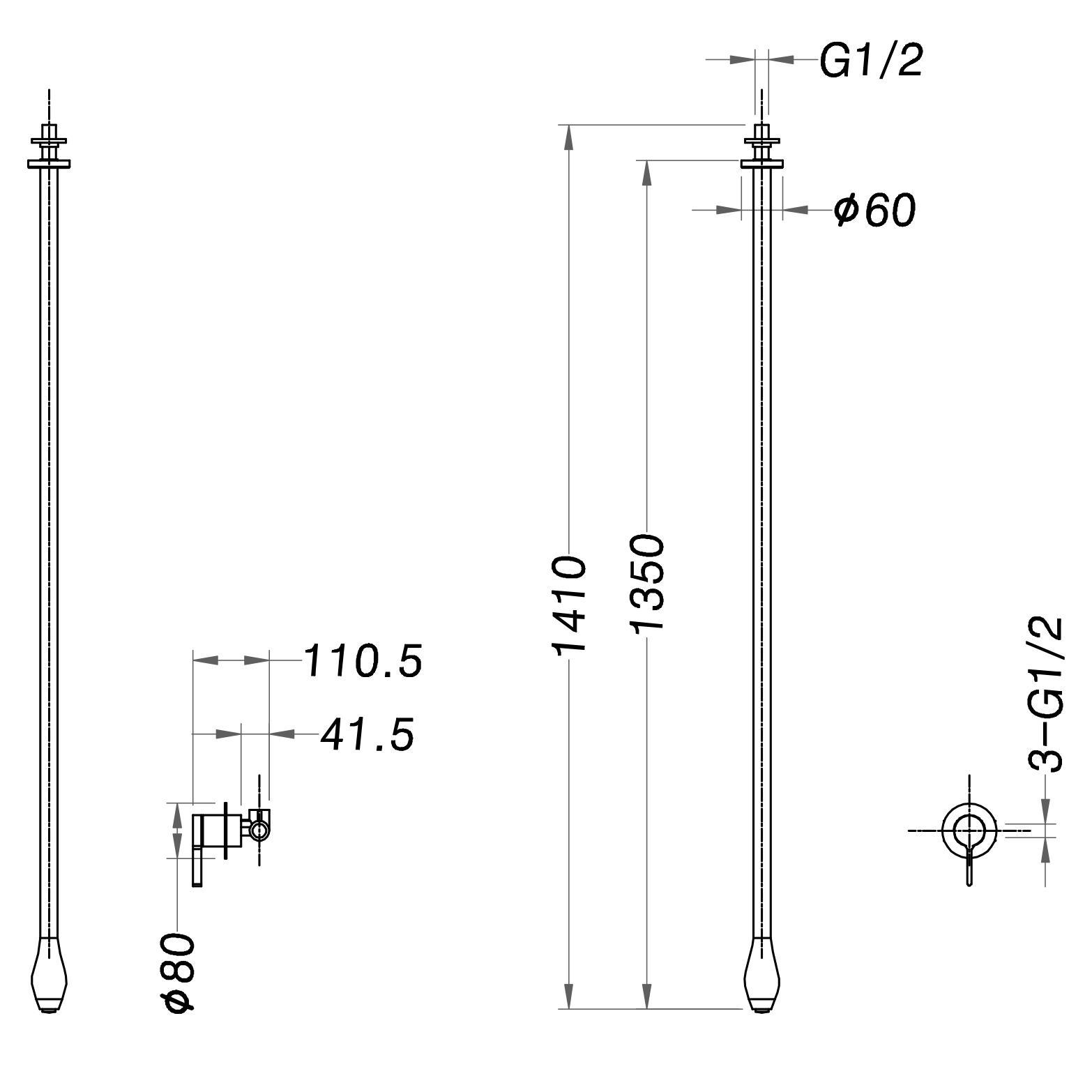 Deckenarmatur DROP 135 - Zeichnung 1