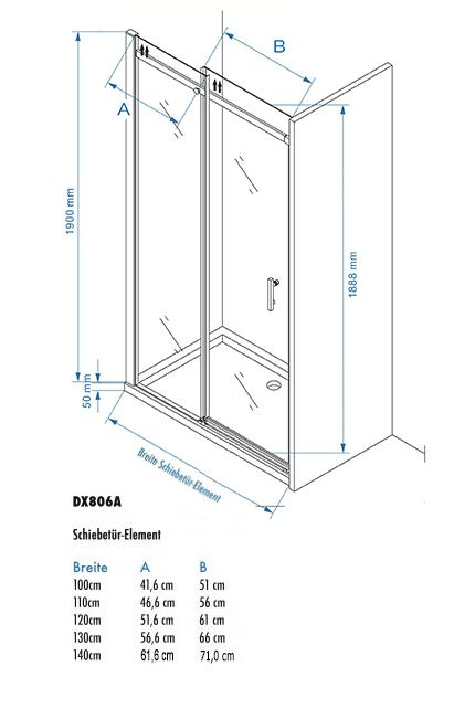 Shower enclosure with sliding door DX806A - Drawing