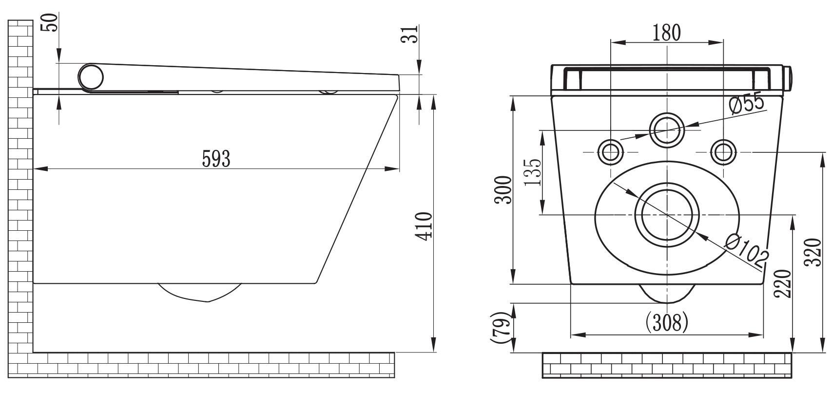 BERNSTEIN Dusch-WC Basic - Zeichnung 1