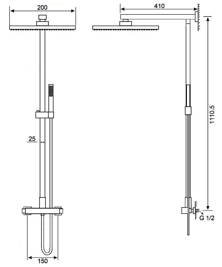 Duschsäule 8921C - Zeichnung
