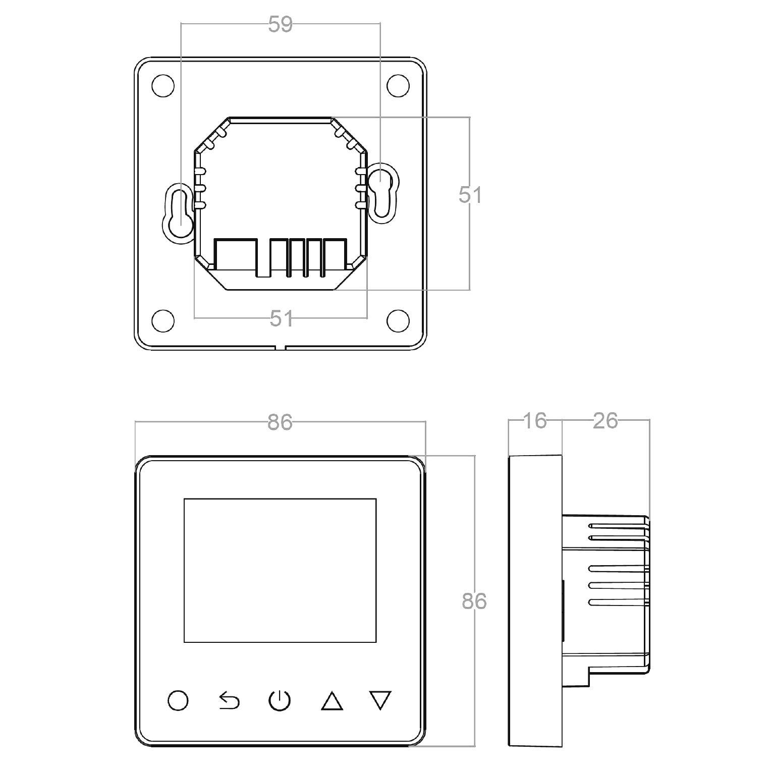 Thermostat ET81W - Zeichnung