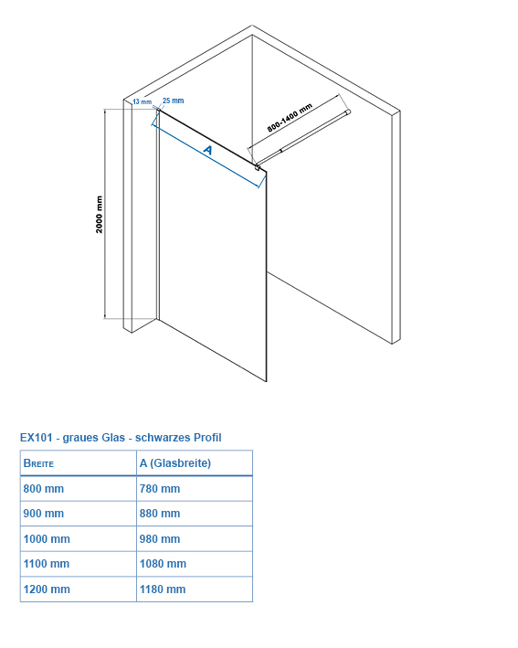 Walk-in shower enclosure EX101 - Drawing