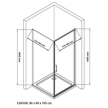 Duschkabine EX416S - 80x80cm - Zeichnung