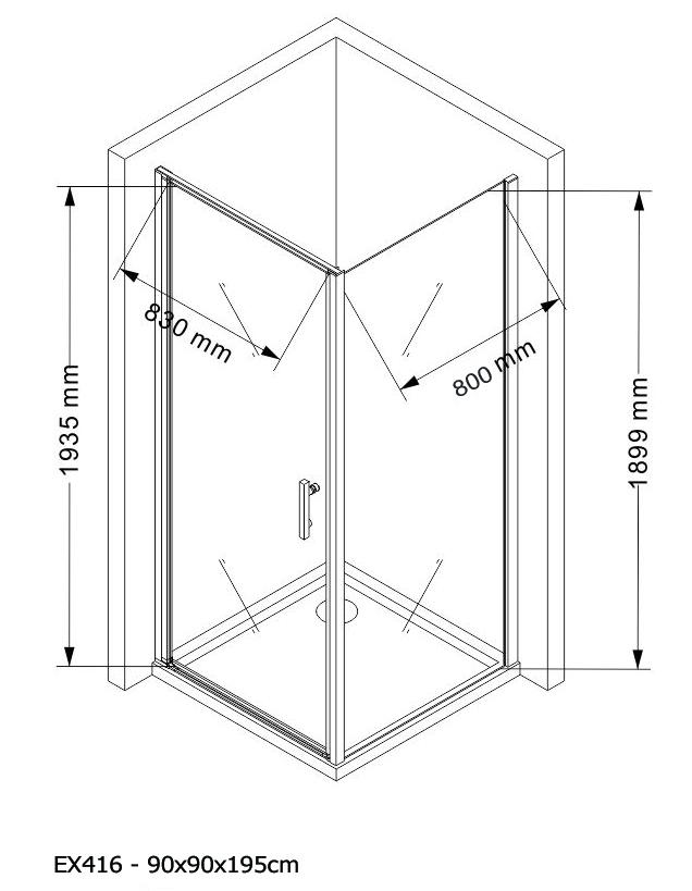 Shower enclosure EX416 - Drawing