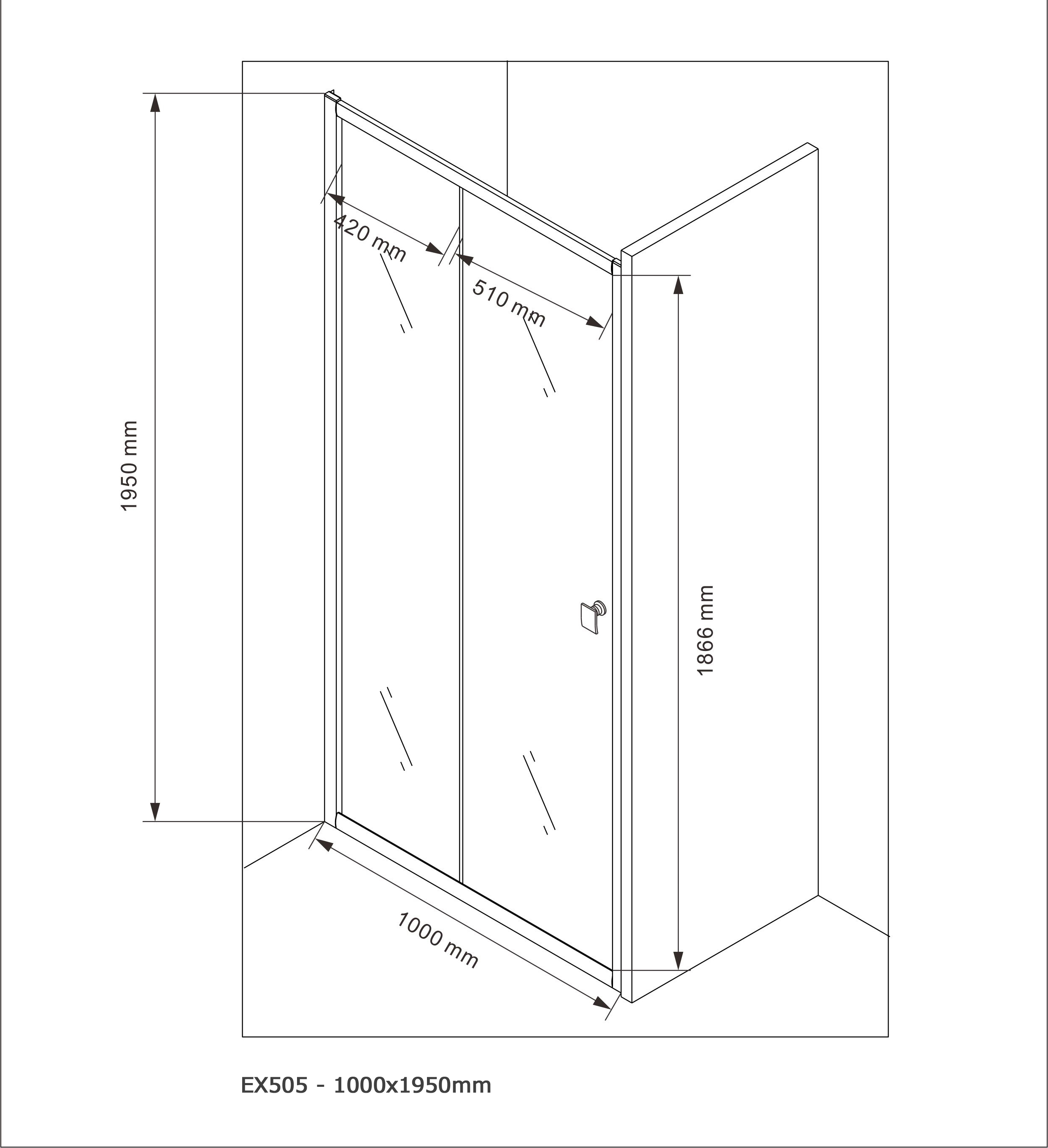 Door shower panel EX505 - 100x195cm - Drawing