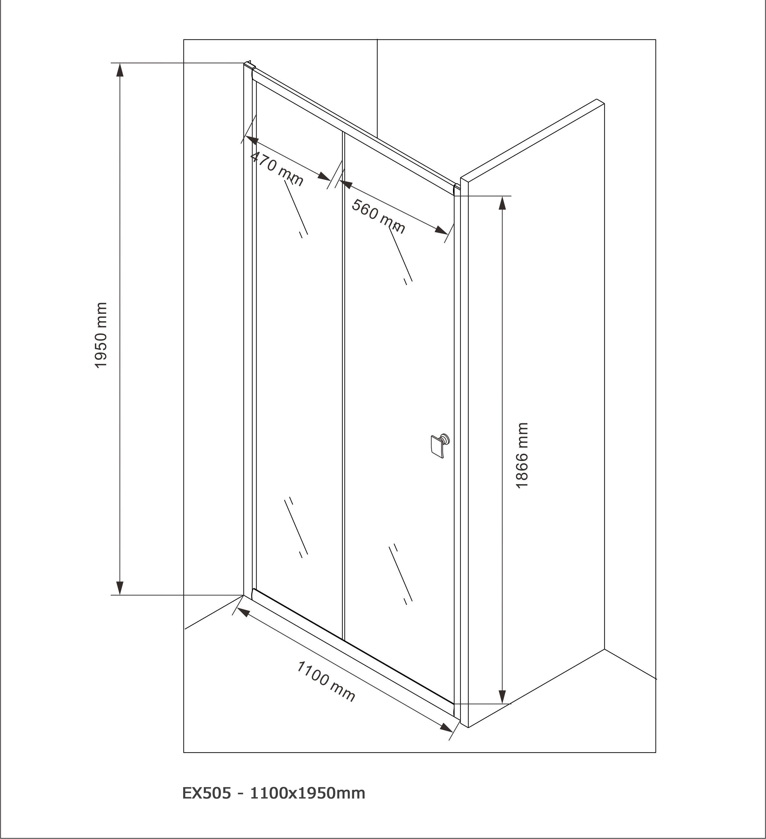 Door shower panel EX505 - 110x195cm - Drawing