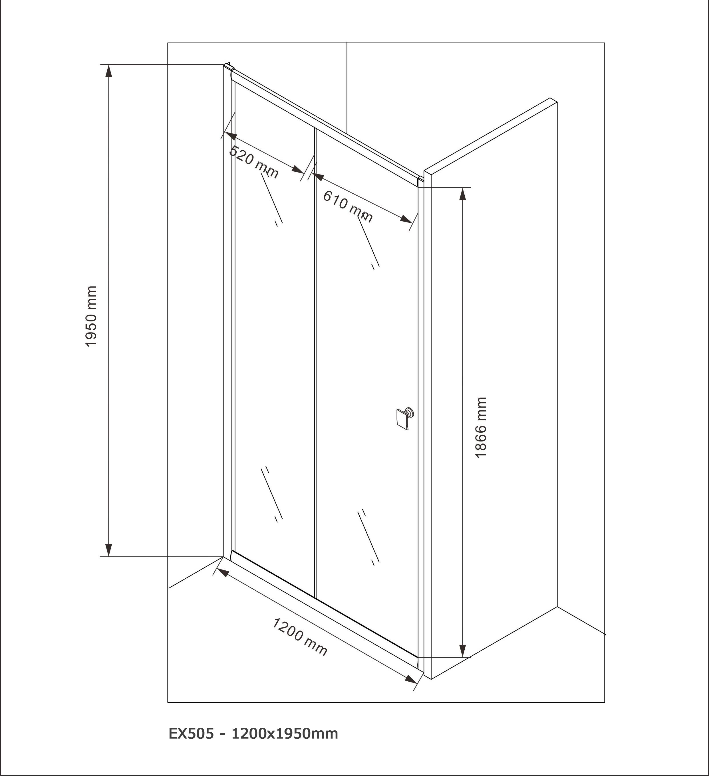 Door shower panel EX505 - 120x195cm - Drawing