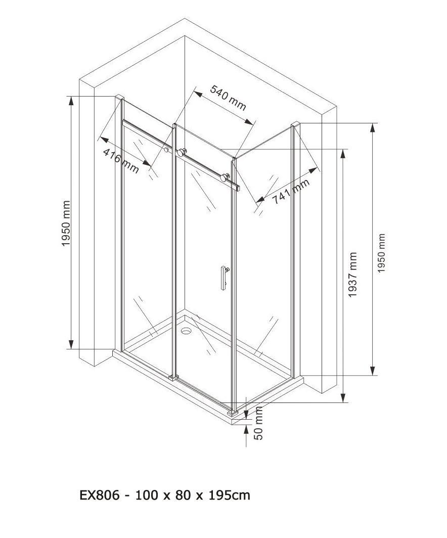 Duschkabine EX806 - Zeichnung