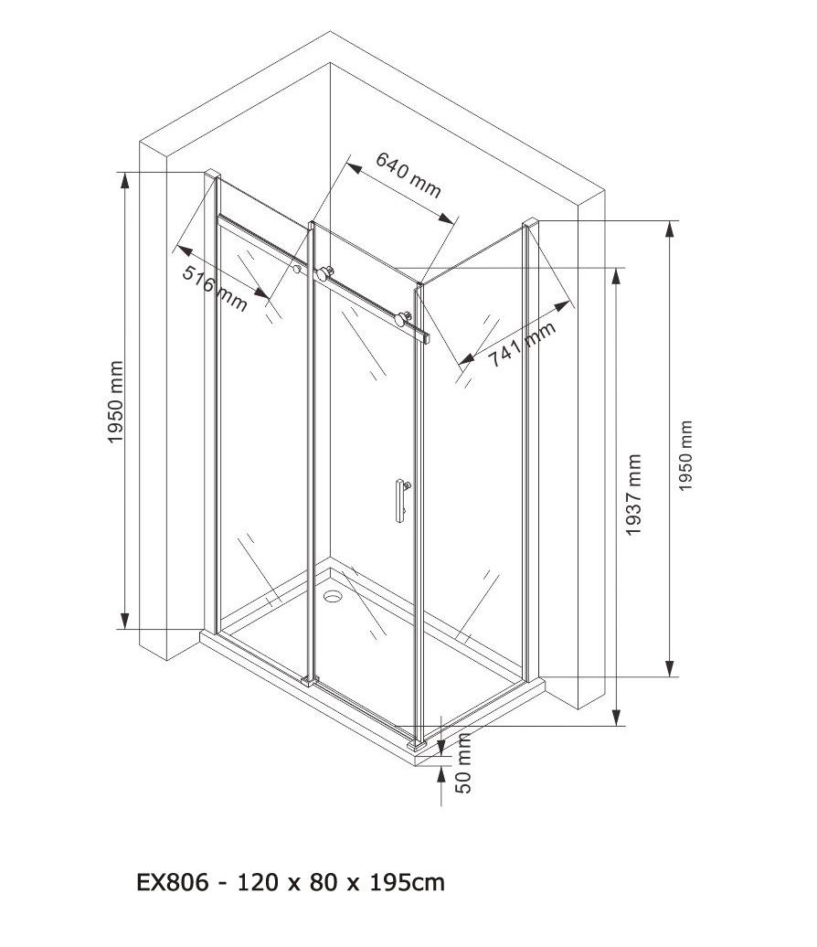 Shower enclosure EX806 - Drawing