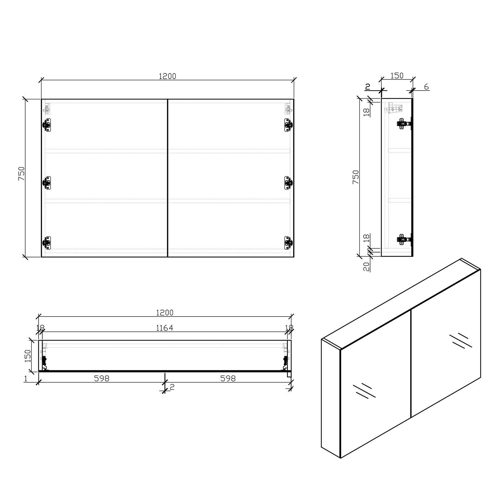 EDGE 1200 Spiegelschrank - Zeichnung