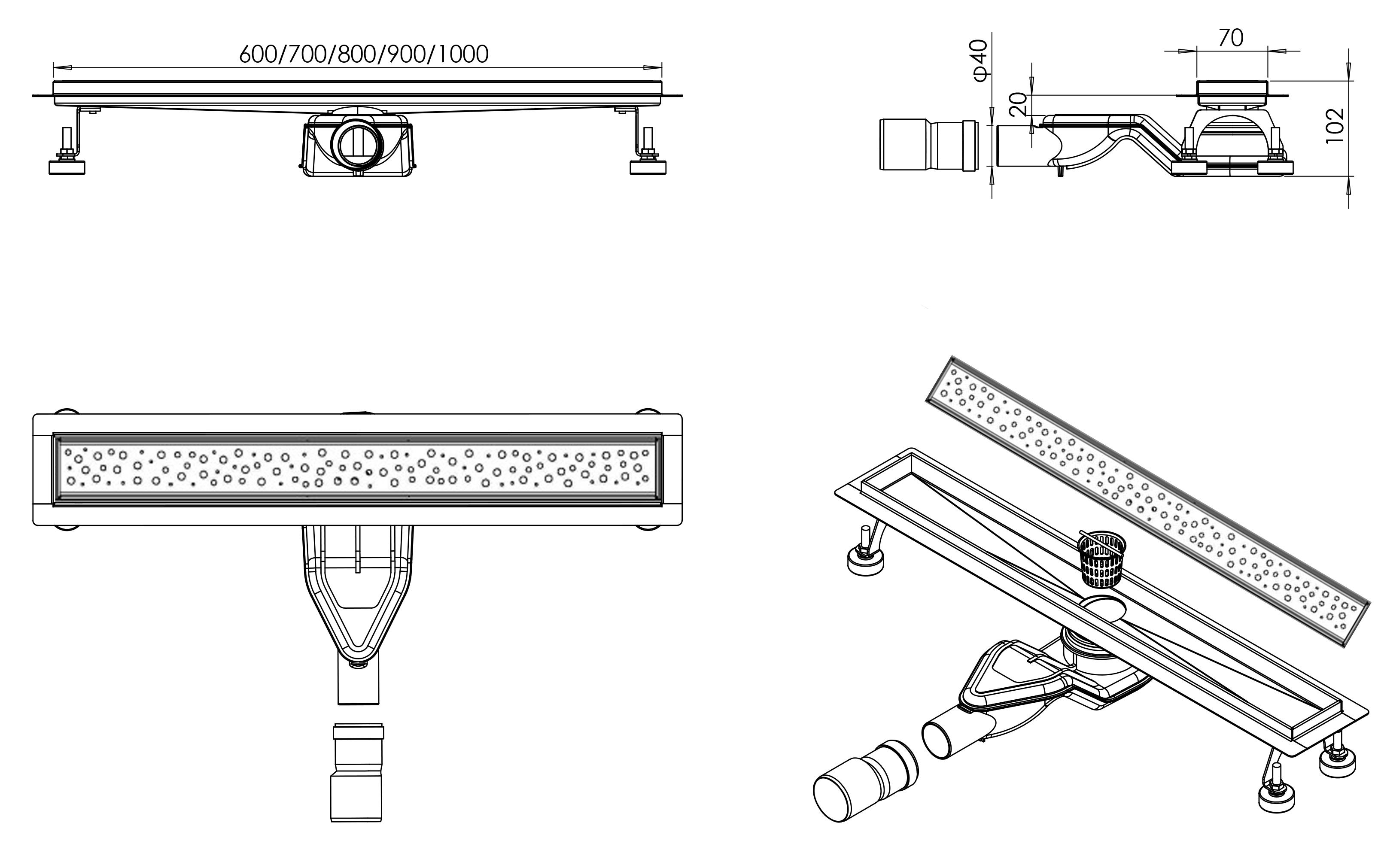 Duschrinne FlexG013 - Zeichnung
