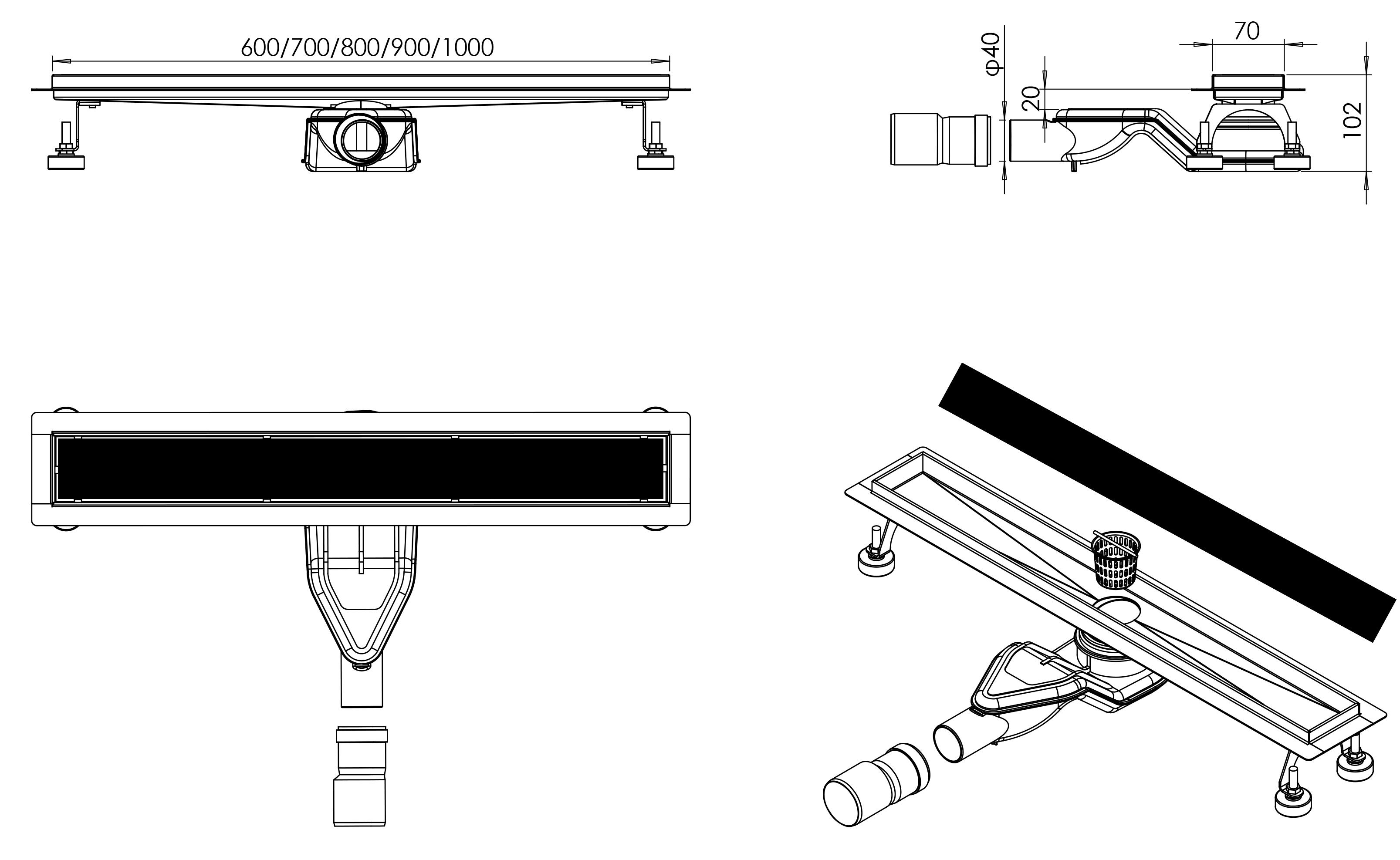 Duschrinne FlexGL01 - Zeichnung