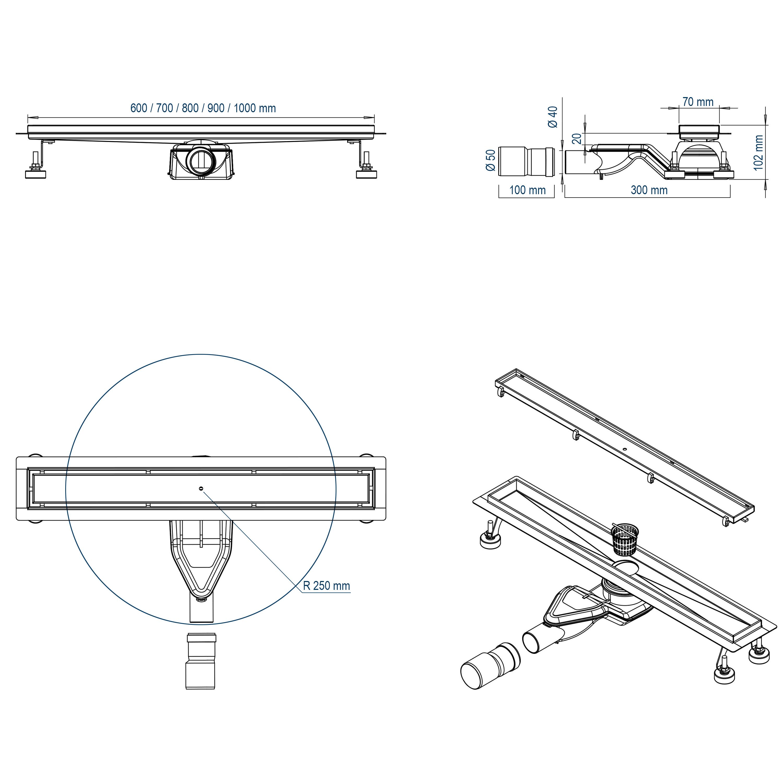 Duschrinne FlexGT01 - Zeichnung