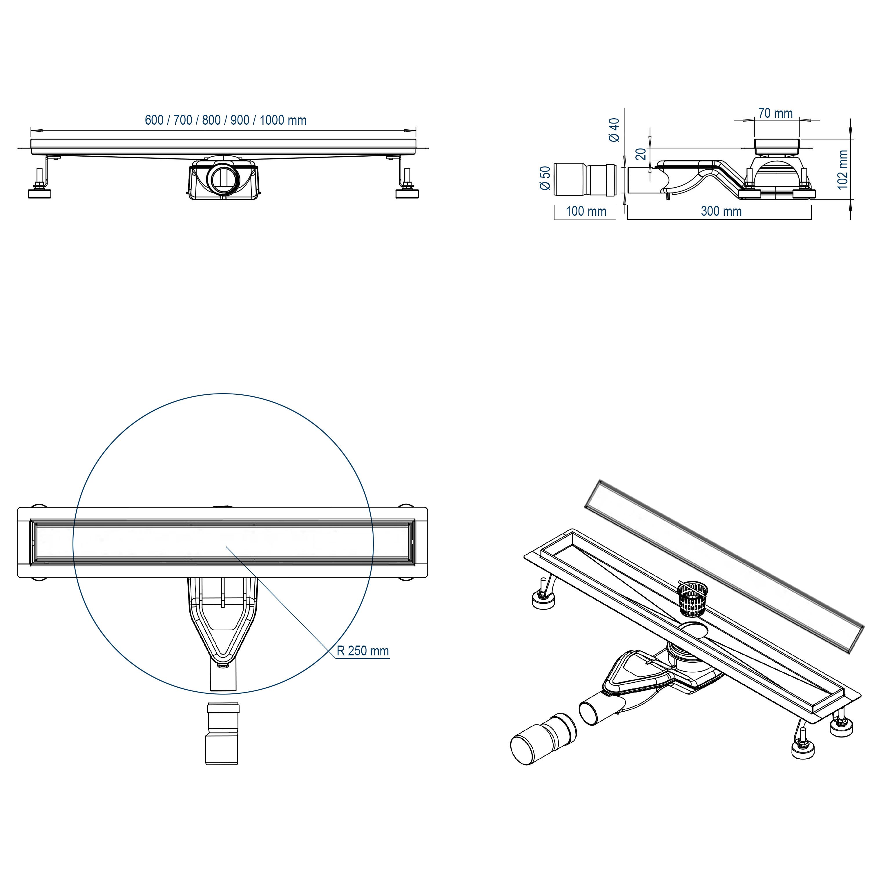 Shower Drain FlexGT02 - Drawing
