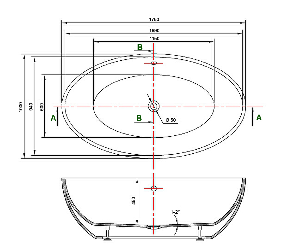 Freestanding bathtub DESTINO - Drawing