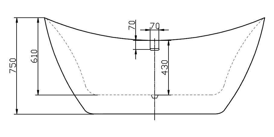 Freistehende Badewanne SIENA - Zeichnung 2