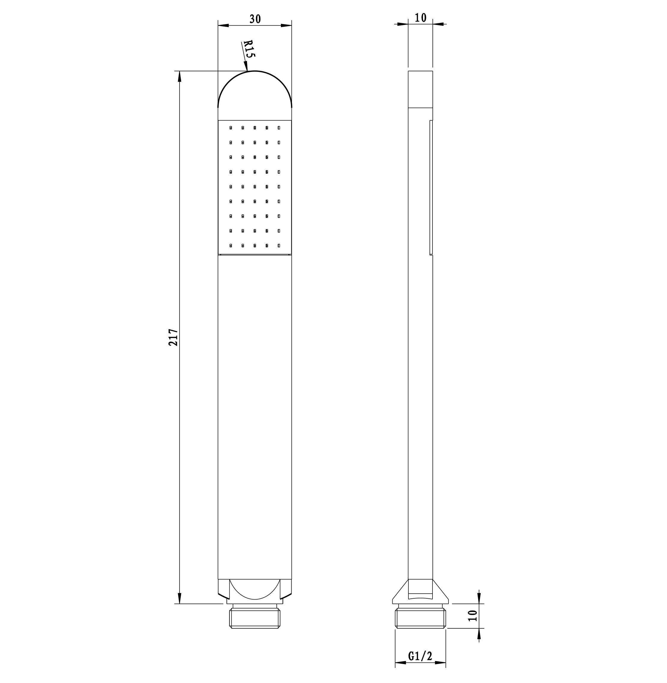 Handbrause HB8R - Zeichnung