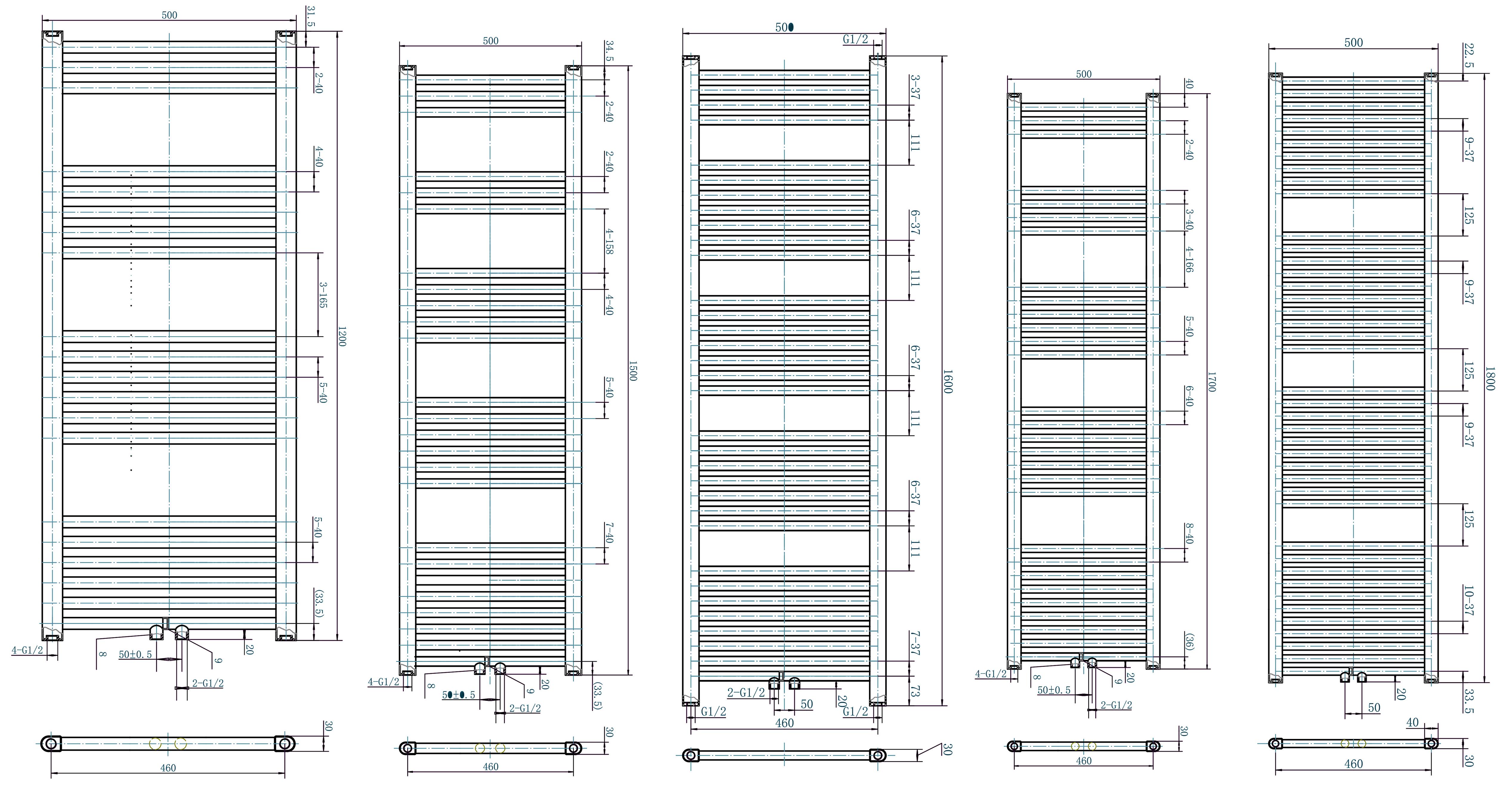 Badheizkörper R18W-A 500mm - Zeichnung