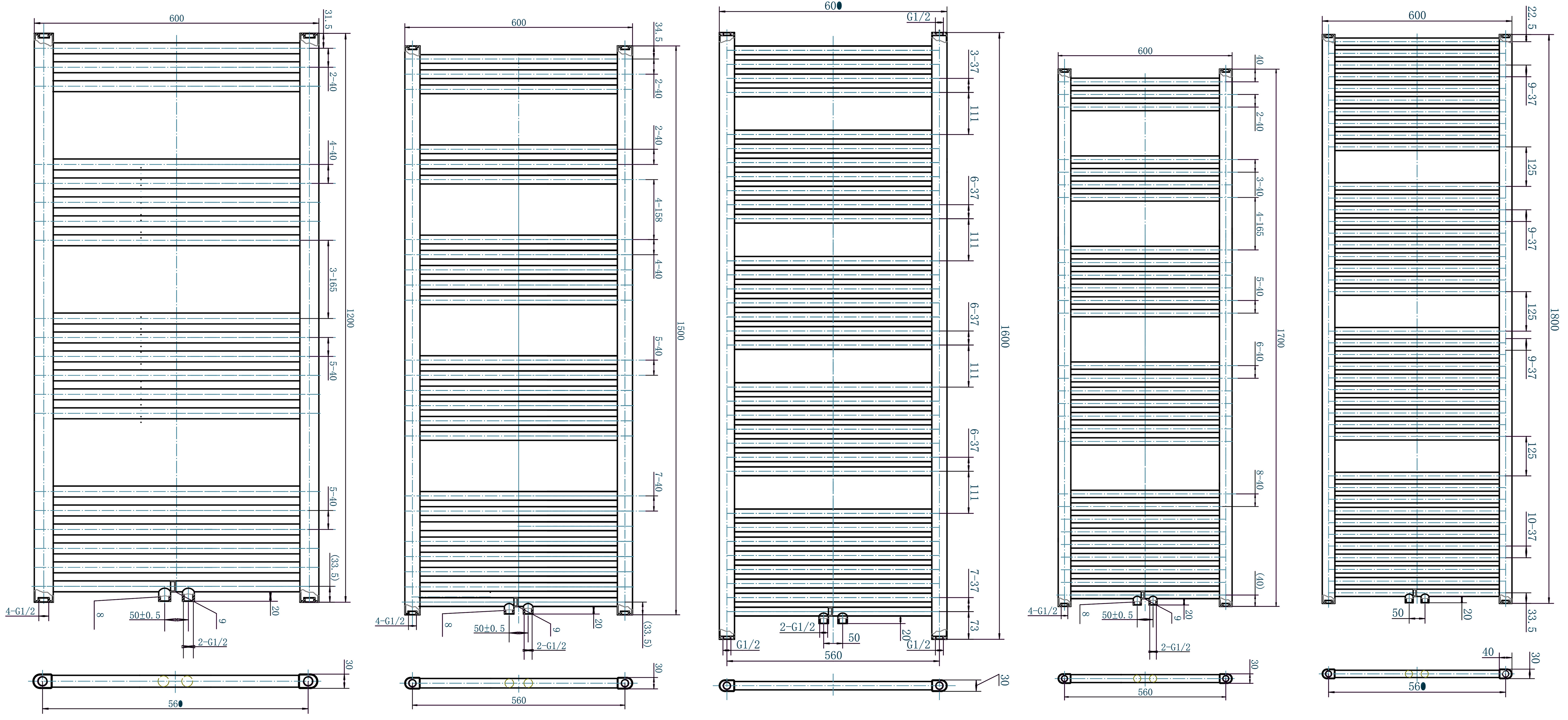 Badheizkörper R18W-A 600mm - Zeichnung