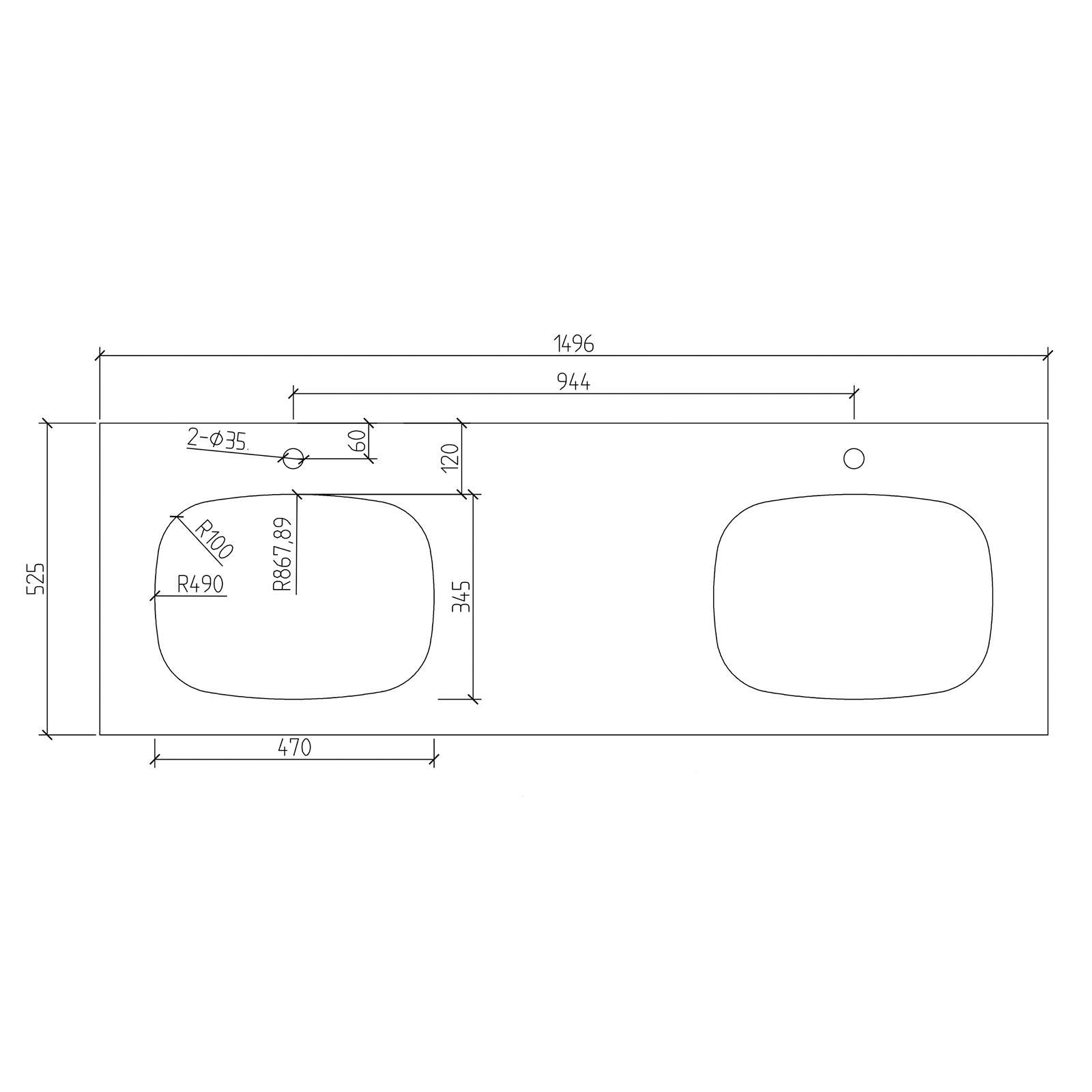 Inalco1500 Waschtischplatte - Zeichnung