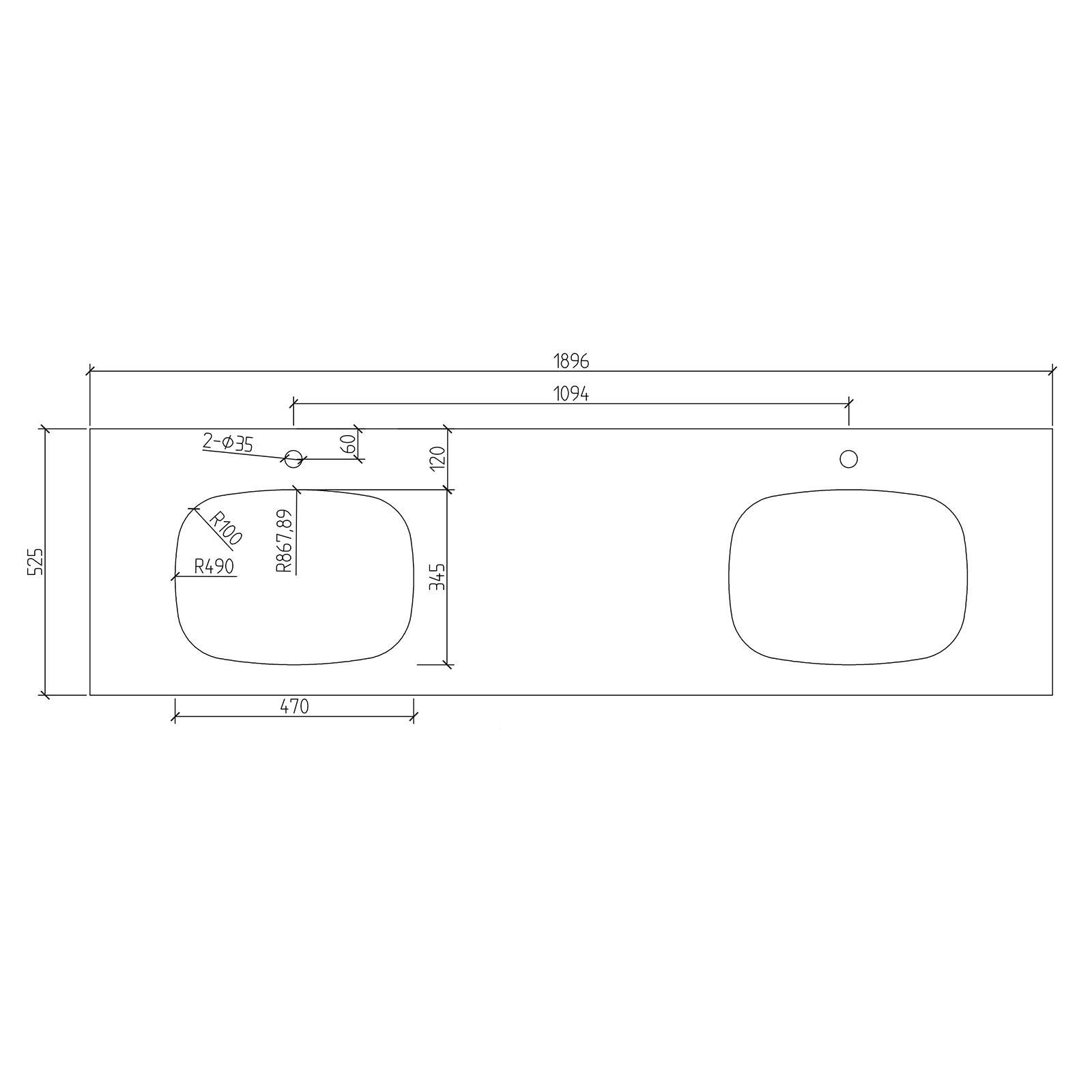 Inalco 1900 Countertop  - Drawing