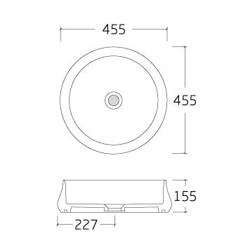 Countertop Washbasin KW6188 - Drawing